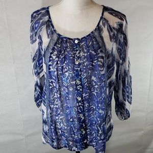 《Anthropologie》sheer blouse floral w lace insert